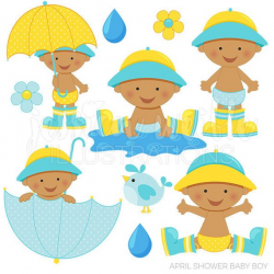 April Shower Baby Boy Dark Cute Digital Clipart for