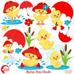 Duck Clipart, Umbrella Rainy Day Vectors | AMBillustrations