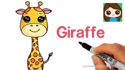 How to Draw a Cartoon Giraffe Easy - April - YouTube