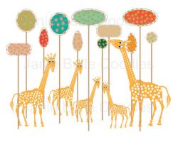 Giraffe Clip Art Tree Clip Art Nursery Art Print