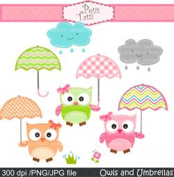 Owl With Umbrella Clipart