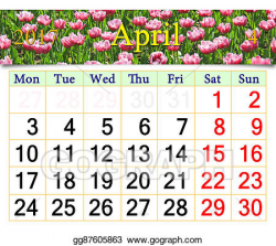 Drawing - Calendar for april 2017 with lilac tulips. Clipart Drawing ...
