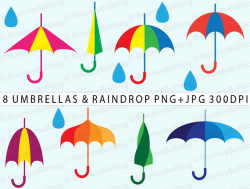 Items similar to April showers clipart - cheerful umbrella clipart ...