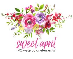 Pink Watercolor Flowers Hydrangea Peonies Clipart Set Wedding