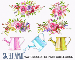 Easter Rabbit Watercolor Clipart Chicken Chick Pink Flowers