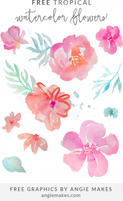 Free Tropical Watercolor Flower Clip Art by Angie Makes