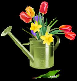 Green Watering Can with Spring Flowers PNG Clipart | mutfak dekopaj ...