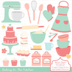 Professional Baking Clipart & Vectors in Mint and Coral - Kitchen ...