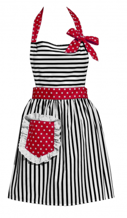 Black Stripes with Red Vintage Style Apron | Apron, Girly and Sewing ...