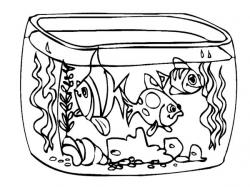 Drawn tank fish tank - Pencil and in color drawn tank fish tank