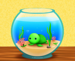 Chibi-Turtle in an aquarium by Mellymiew on DeviantArt