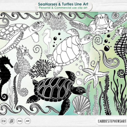 SeaHorse Line Art. Sea Turtle ClipArt Images Aquarium Digital
