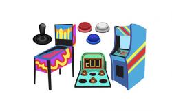 ARCADE CLIPART - arcade game vectors, Pinball clip art, classic ...