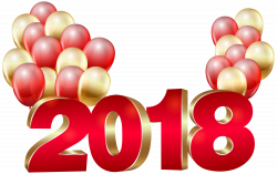 2018 Red Gold and Balloons PNG Clip Art Image   Gallery ...