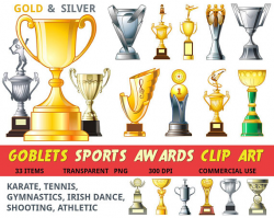 Trophy clipart sports award clipart goblet cup gold silver