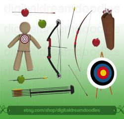 Archery Clipart, Bow Arrow Clip Art, Bow and Arrows Graphic, Archers ...