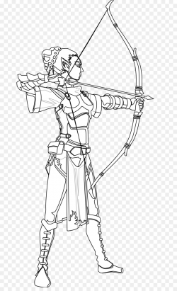 Black and white Drawing Archery Coloring book Clip art - Female ...