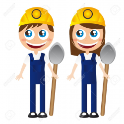 Boy and girl architects clipart