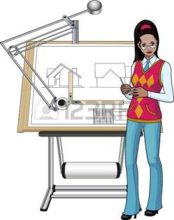 Architecture clipart female architect - Pencil and in color ...