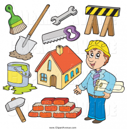 Avenue Clipart of a Builder Man and Contractor Items by visekart - #1455