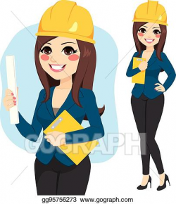 Vector Art - Woman female architect. Clipart Drawing ...