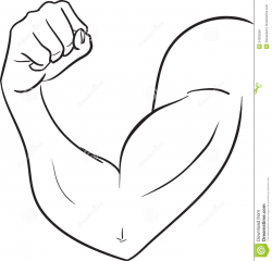 Muscle Arm Black And White Clipart