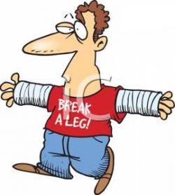 Cartoon Man With Two Broken Arms - Royalty Free Clipart Picture