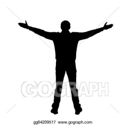 Drawing - Silhouette of a man with spread arms on a white ...