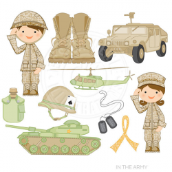 In the Army Cute Digital Clipart for Card Design