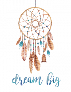 A motivational bohemian art print that says Dream Big with a ...