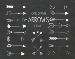 White Hand Drawn Arrows Clipart A set of 18 chalkboard