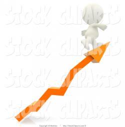 3D Clip Art of a White Man Character Walking up an Orange Arrow ...