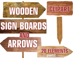 Digital Wooden Sign Boards and Arrows Clipart printable