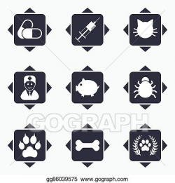 Vector Art - Veterinary, pets icons. paw, syringe and bone. Clipart ...