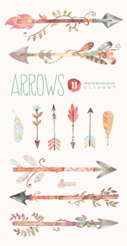 Arrows Watercolor Clipart. 11 Hand painted elements, feathers, diy ...