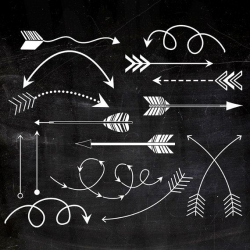 Tribal Arrows Clipart, Printable arrows, white chalk arrows on black ...