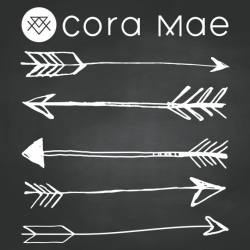 Large sketched arrow chalkboard clipart. 6 PNG files.