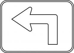 Left Advance Turn Arrow Auxiliary, Outline   ClipArt ETC