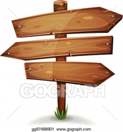 Vector Art - Wood stake with direction signs arrows. EPS clipart ...