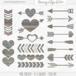 Digital Wood Heart Clipart - Wooden Arrow Clip Art - Weathered Barn ...