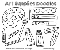 Art Supplies Drawing at GetDrawings.com | Free for personal use Art ...
