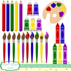 Art supplies clip art, 26 clipart designs. INSTANT DOWNLOAD for ...