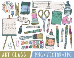 Art Supplies Clipart, Art Class Clip Art, Clipart for Teachers ...