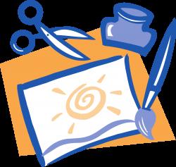 Clipart - Artwork - paintbrush, scissors and glue