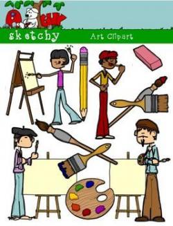 Artist / Art Materials Supplies Clipart Graphics 300dpi Color Gray ...