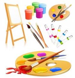 PAINT PALLETE AND BRUSHES CLIP ART | dibujos | Pinterest | Clip art ...