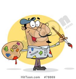 Artist Clipart #78869: Sloppy Hispanic Cartoon Artist Painter with a ...