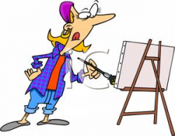 A Colorful Cartoon of an Artist Painting on a Canvas - Royalty Free ...