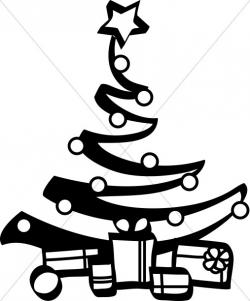 Black and White Artist Christmas Tree | Religious Christmas Clipart