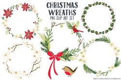 Christmas Wreaths Clip Art PNG ~ Illustrations ~ Creative Market